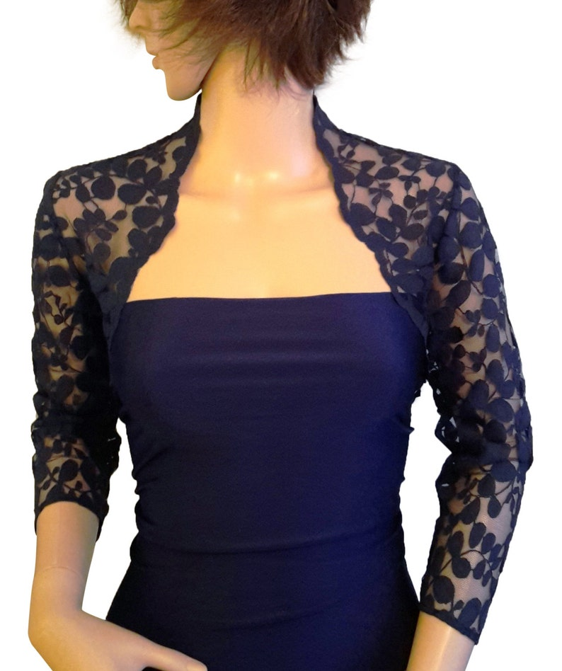 Ladies Navy Lace Shrug Bolero 3 4 or Short Sleeve in Sizes UK  19f6a9958