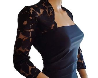 Womens Black, White or Ivory lace Bolero, Jacket  with 3/4 or short sleeves UK sizes 8 to 18