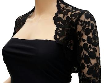 Women's Black or Navy leaf design 3/4 sleeved bolero in sizes 8 to 18 UK