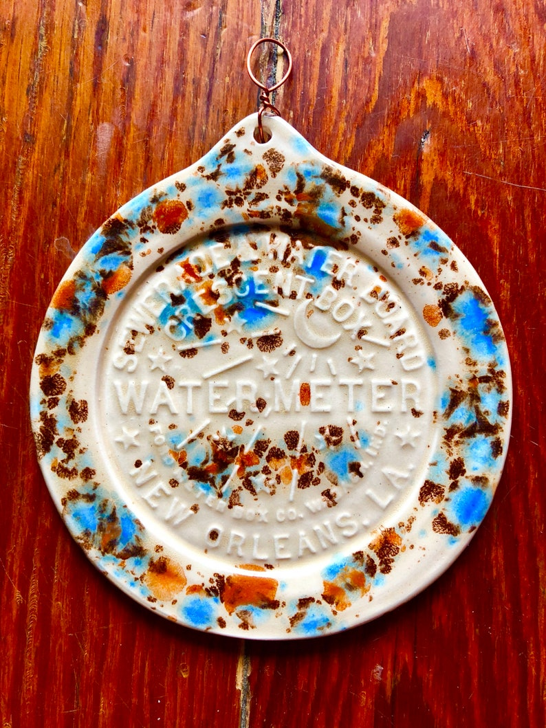 New Orleans Water Meter mocha and blue handmade Pottery image 0