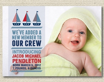 """Baby Announcement Birth Announcements - """"Boats"""""""