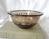 Vintage Pyrex Festive Harvest Mixing Bowl, Pink Birds And Hearts Motif, Brown Glassware, Farmhouse Kitchen, Housewarming Gift