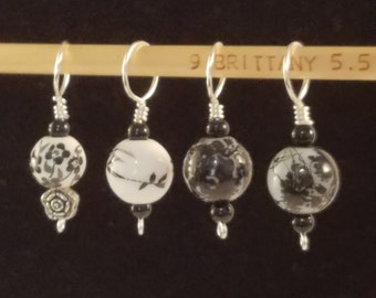 Ceramic Knit Stitch Markers, vintage look, fun gift for knitters, knitting accessories