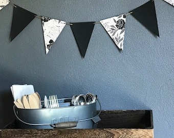 Halloween banner, Halloween Bunting, Office Decor, Party Banner, Halloween Decoration, Holiday Bunting, Black and White, Paper Bunting
