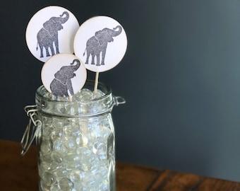 Elephant Cupcake Toppers, Baby shower decor, Birthday Party Decoration, Grey Elephants, Elephant Decor, set of 12