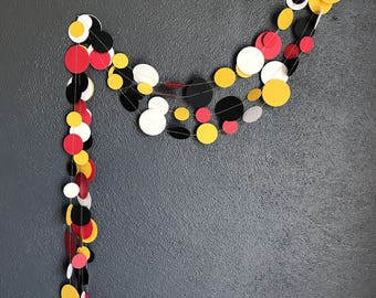 Black Red Yellow and White Paper Garland - Party Garland - Toddler Party Decoration - Shower Decoration - Birthday Party Decoration - 10ft