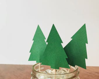 Pine Tree Cupcake Toppers • Set of 12 • Woodland Cupcake Toppers • Lumberjack Party • Birthday Party • Party Decoration