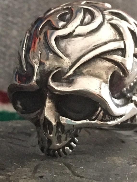 Sterling Silver Biker Ring Jawless Skull