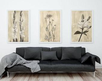 Flower Photography Prints, Sepia Botanical Prints Set, Set of 3 Prints, Housewarming Gift, Sepia Floral Prints, Neutral Wall Art Prints Set