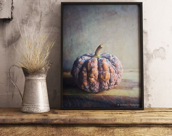 Fall Printable Wall Decor, Downloadable Pumpkin Photo, Farmhouse Wall Art Print, Autumn Kitchen Art Print