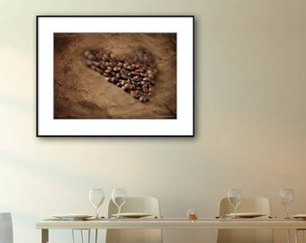 Coffee Kitchen Decor, Coffee Art Print, Coffee Gift, Kitchen Wall Decor, Dining Room Decor, Brown, Coffee Photo Print, Fine Art Print