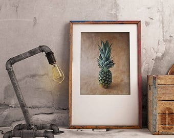 Pineapple Printable Wall Art, Farmhouse Kitchen Wall Decor, Printable Digital Download, Culinary Gift, Unique Wall Art