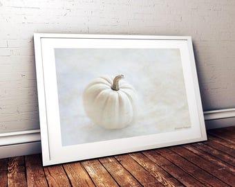 Minimalist Autumn Decor, White Pumpkin Photographic Print, Fall Art Print, White Wall Art Print,  Dining Room Wall Decor, Pumpkin Decor
