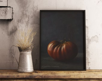 Printable Kitchen Art, Tomato Photography, Downloadable Wall Art Print, Affordable Home Gift, Gift For Foodie, Farmhouse Decor