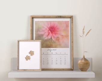 Printable Calendar 2022, Botanical Floral Calendar, Digital Download Calendar For Frame, A4 Size Wall Calendar 2022