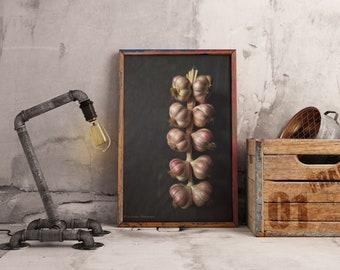 Printable Art For Kitchen, Garlic Photography, Instant Download Digital Art Print, Farmhouse Kitchen Wall Art