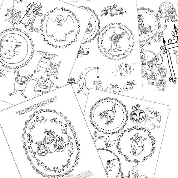Halloween Embroidery Patterns Printable Set Of Digital Etsy