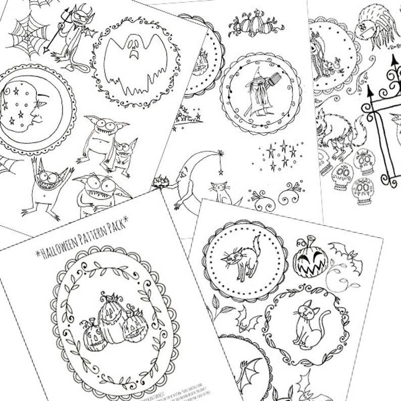 photo about Printable Embroidery Patterns called Halloween Embroidery Types Printable Mounted of Electronic Downloadable PDF Hand Embroidery Moon Cats Pumpkins Witch Bats 0050