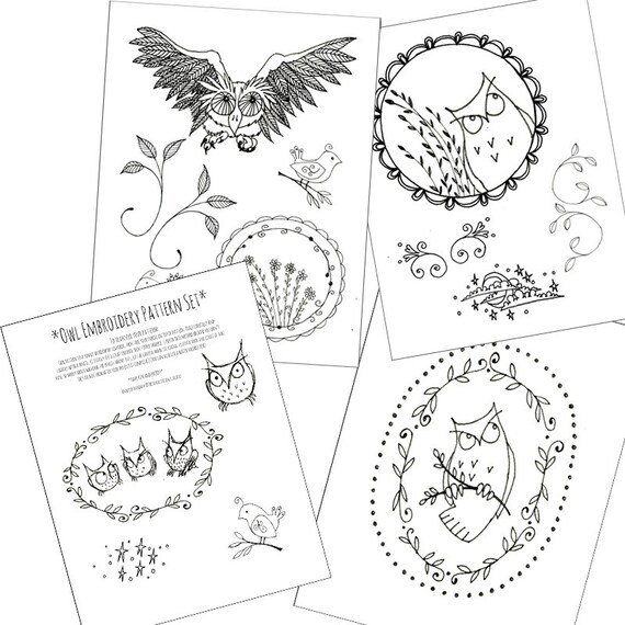 photo regarding Printable Owl Patterns referred to as Owl Pack Embroidery Behaviors Halloween Printable Mounted of Electronic Downloadable PDF Hand Embroidery Birds Vines 0085