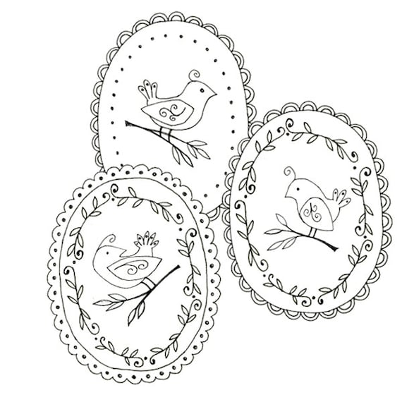 Bird Embroidery Pattern Set 3 Bird Patterns Woodland Animal Etsy