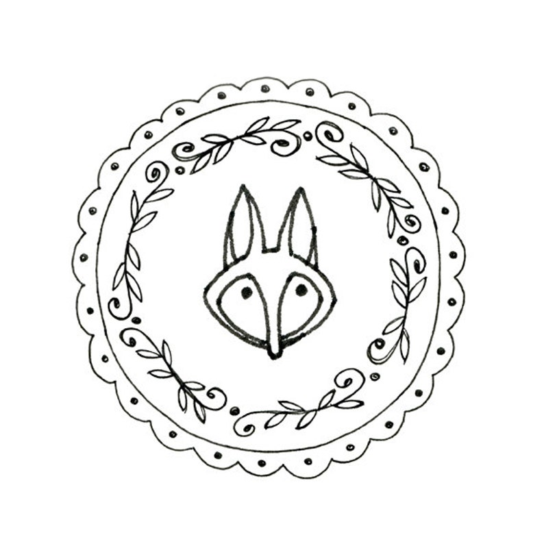 picture about Printable Embroidery Patterns referred to as Fox Hand Embroidery Habit Printable Woodland Animal Electronic Downloadable Down load 0008