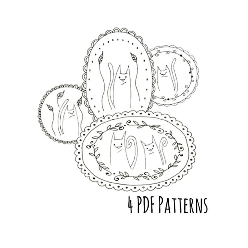photo regarding Printable Embroidery Patterns named Cat Household Embroidery Routine Printable Fastened of 4 Animal Electronic Downloadable PDF Hand Embroidery Kitty Kitties 0011