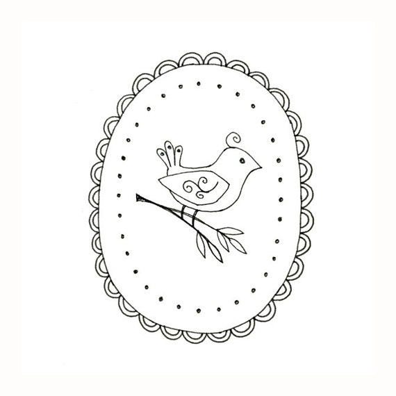 Bird Embroidery Pattern Woodland Animal Digital Downloadable Etsy