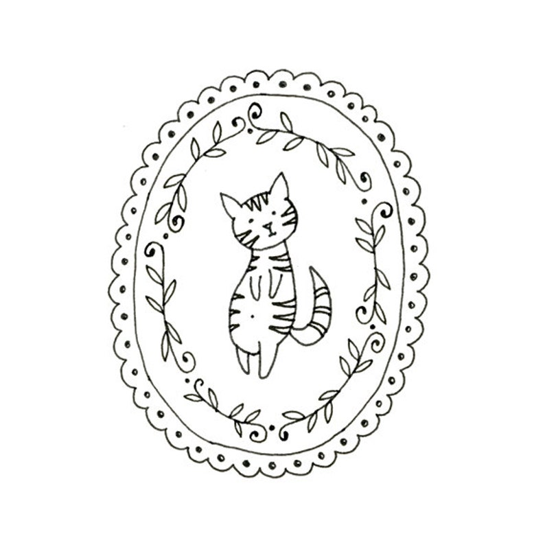 Cat Embroidery Pattern Kitty Digital Downloadable 0006 image 0
