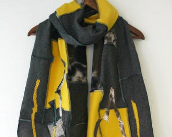 Gray yellow Scarf, Male Unique shawl, Male boho scarf, gray yellow scarf, Rainbow scarf, Men's gift, mens winter Scarf, Father's gift