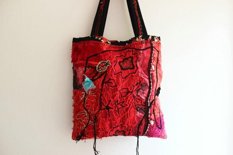 1139c7ba74cb Red Boho bags handmade cloth bag red black fabric bag