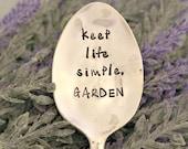 keep life simpe, GARDEN Garden Marker Upcycled Garden Markers Housewarming Gift Garden Decor Garden Gift
