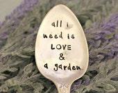 all i need is LOVE a garden Garden Marker Upcycled Garden Markers Housewarming Gift Garden Decor Garden Gift