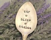 EAT SLEEP GARDEN Garden Marker Upcycled Garden Markers Housewarming Gift Garden Decor Garden Gift
