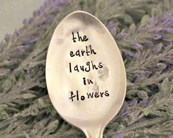 the earth laughs in flowers   Garden Marker   Upcycled Garden Markers   Housewarming Gift   Garden Decor   Garden Gift