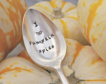 Pumpkin Spice, Stamped Spoon, Pumpkin Lover, Fall, Autumn, Pumpkin Gift, Silverplate Spoon, Unique Gift, Gift for Friend, Gift for Family