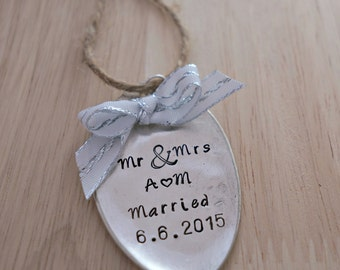 Custom Wedding Ornament, Stamped Spoon Ornament, Custom Christmas Ornament, Mr & Mrs,  Wedding Gift, Christmas, Christmas Decor, Present Tag
