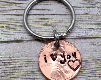 I Love You Penny, Style A, Stamped Penny, Lucky Penny, Wedding Date Penny, Anniversary Gift, Valentine's Day Gift, Wedding Gift, Keychains