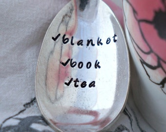 Blanket Book Tea. Stamped Spoon. Vintage Spoon. Tea Spoon. Gift for Tea Lover. Gift for Friend. Stamped Silverware by The Rustic Stamp