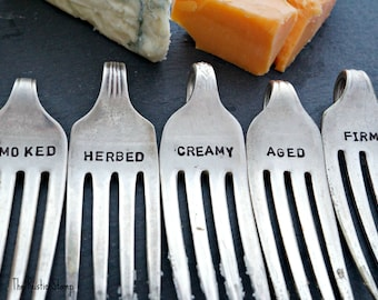 Upcycled Fork Cheese Marker Set, hand stamped, unique, gift for engagement, wedding gift, hostess gift, housewarming gift, stamped flatware
