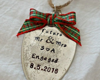 Custom Engagement Ornament, Stamped Spoon Ornament, Custom Christmas Ornament,  Engagement Gift, Christmas, Christmas Decor, Present Tag