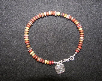 Sterling Silver and Apple Jasper Bracelet with Charm