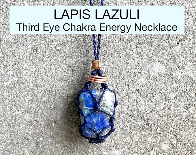 Lapis Lazuli Third Eye Chakra Energy Healing Necklace