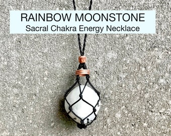 Rainbow Moonstone Sacral Chakra Energy Healing Necklace