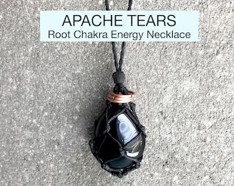 Apache Tears Root Chakra Energy Healing Necklace