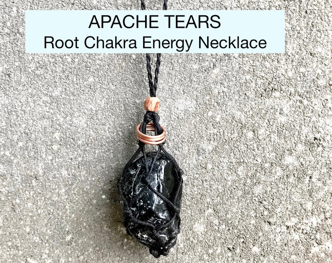 Rough Apache Tears Obsidian Root Chakra Energy Healing Necklace
