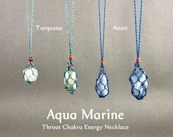 Aqua Marine Throat Chakra Energy Healing Necklace