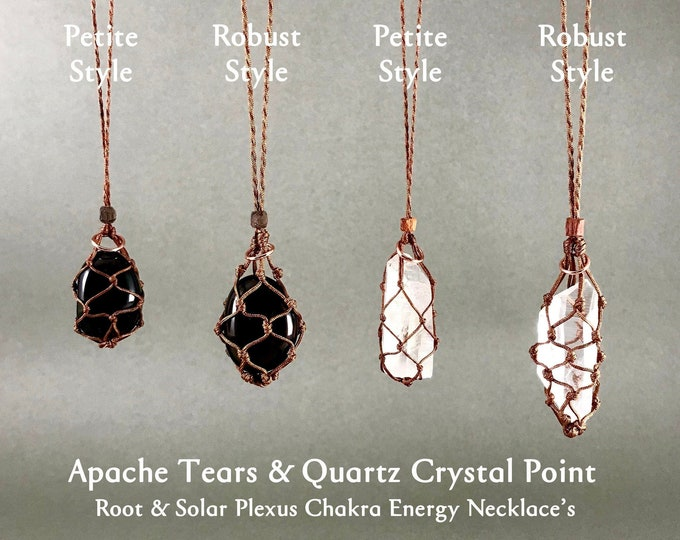 Apache Tear Root Chakra Energy Necklace w/  Quartz Crystal Point