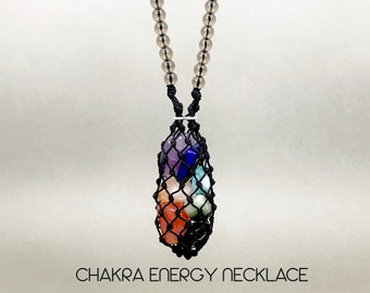 Tiny Crystal Chakra Energy Healing Necklace with Smokey Quartz Beads