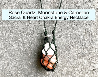 Rose Quartz, Carnelian and Moonstone Sacral Chakra Energy Healing Necklace