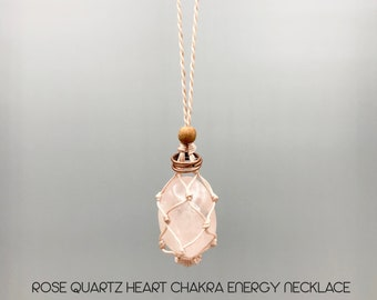 Rose Quartz Heart Chakra Energy Healing Necklace